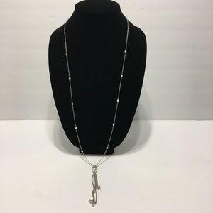 Rachel Roy Long Silver pearl tassel necklace